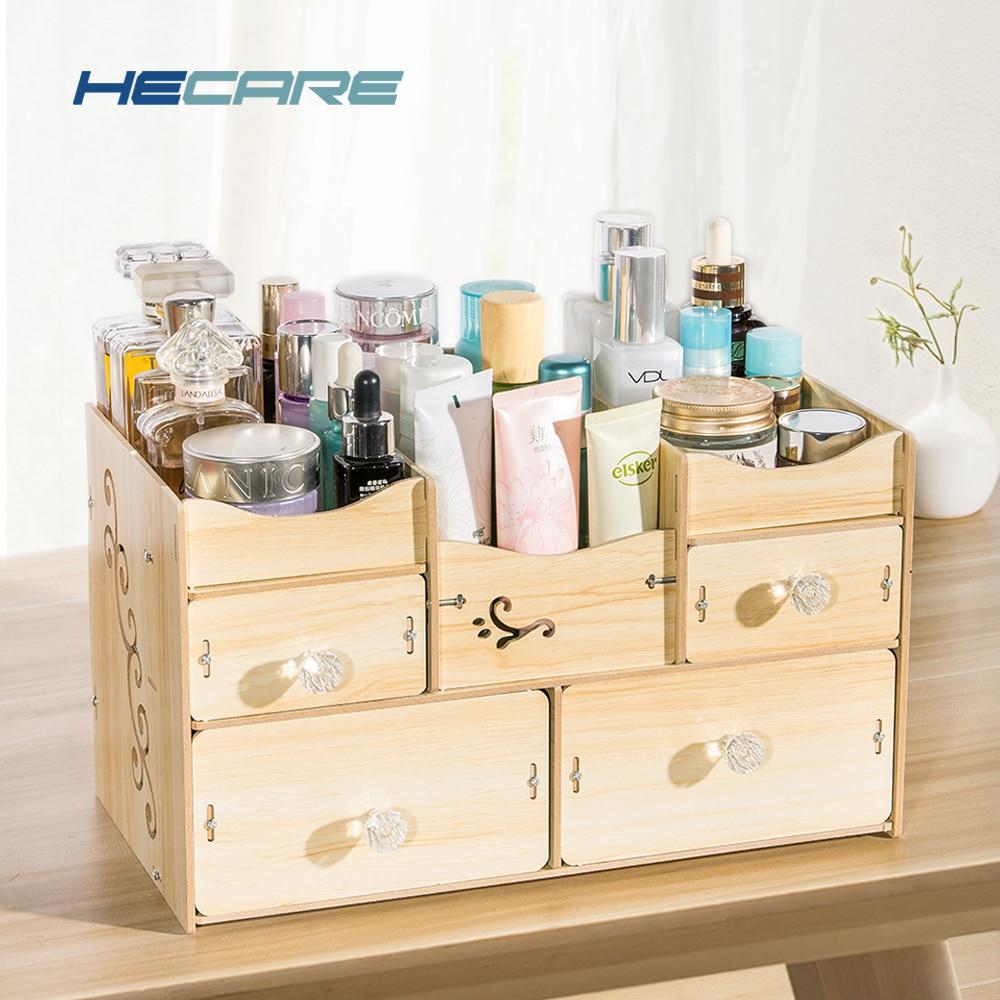 HECARE Bathroom Organizer Wooden Organizador De Batom Organizer For Cosmetic Bathroom Accessories Set Storage Organization New