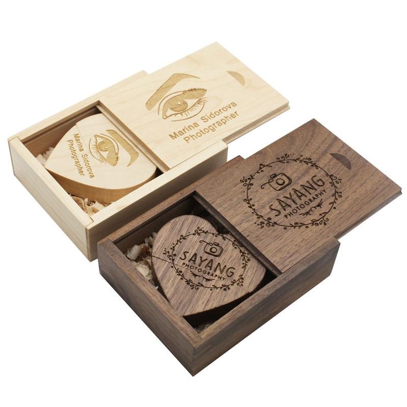 BiNFUL Wooden Heart+B  Custom LOGO 64GB Usb Flash Drive Memory Stick Pen Drive 8gb 16gb 32gb Company Logo Engravee