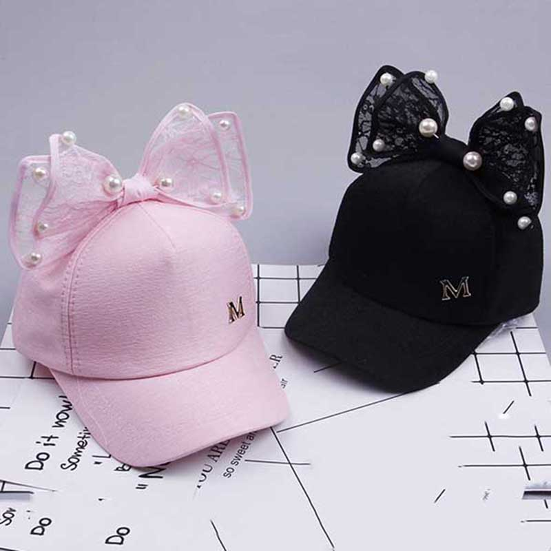 Kids Baby Baseball Cap Girls Boys Childrens Pearl Bowknot Bongrace Summer  Hat S