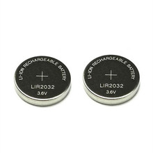 2PCS 3.6V LIR2032 lir 2032 lithium ion rechargeable battery 40mah Li-ion button coin cell replace for CR2032 CR 2032