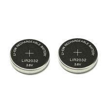 2PCS 3,6 V LIR2032 lir 2032 lithium-ionen akku 40mah Li-Ion taste münze zell ersetzen für CR2032 CR 2032