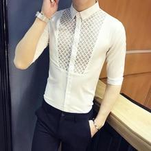 Half Short Sleeve Summer Shirt Men Chemise Blanche Femme Hawaiian Slim Fit White Lace Hollow Out Designer Modis