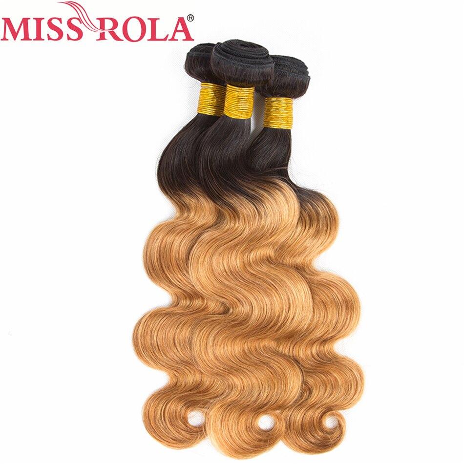 100%Human-Hair Hair-Extensions Body-Wave3-Bundles Miss-Rola Peruvian Hair-Pre-Colored