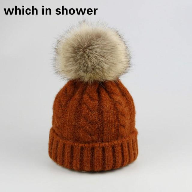 efe91fb6652 faux rabbit fur pompom kids knitted hat solid thicker warm children wool  skullies beanie baby girl or boy fur pom pom bonnet cap