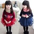 2016 otoño de la manera vestidos de Princesa de la moda vestido de flores de una generación en poco tiempo