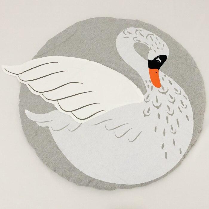 95 см детская игра коврики круглый коврик, мат хлопок Лебедь Ползания одеяло пол ковер для детской комнаты украшения INS подарки для малышей - Цвет: swan 90cm