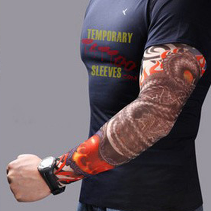 Cool Fashion Men 6Pcs/Lot Men Rock Punk Style Temporary Fake Slip On Tattoo Arm Sleeves Kit Sleeves Accessory Unisex Women