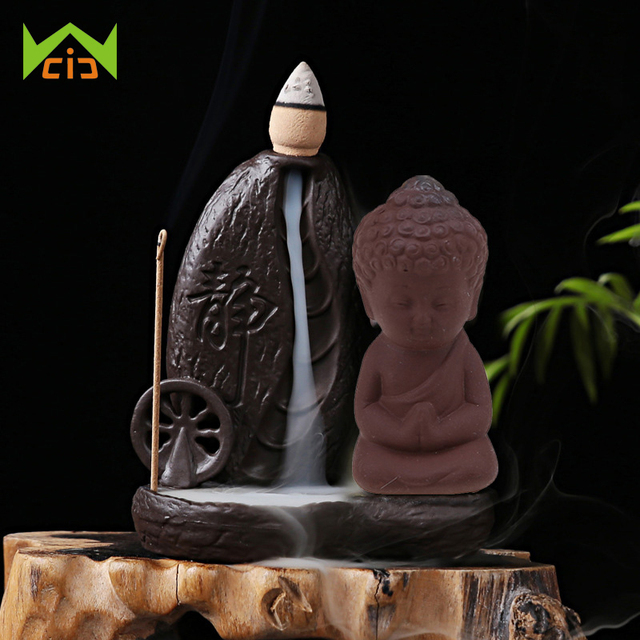 WCIC Small Figurines Miniature Purple Clay Buddha Statues Mini Chinese Buddhism Zen Monks Little Buddhism Monk Garden Ornament