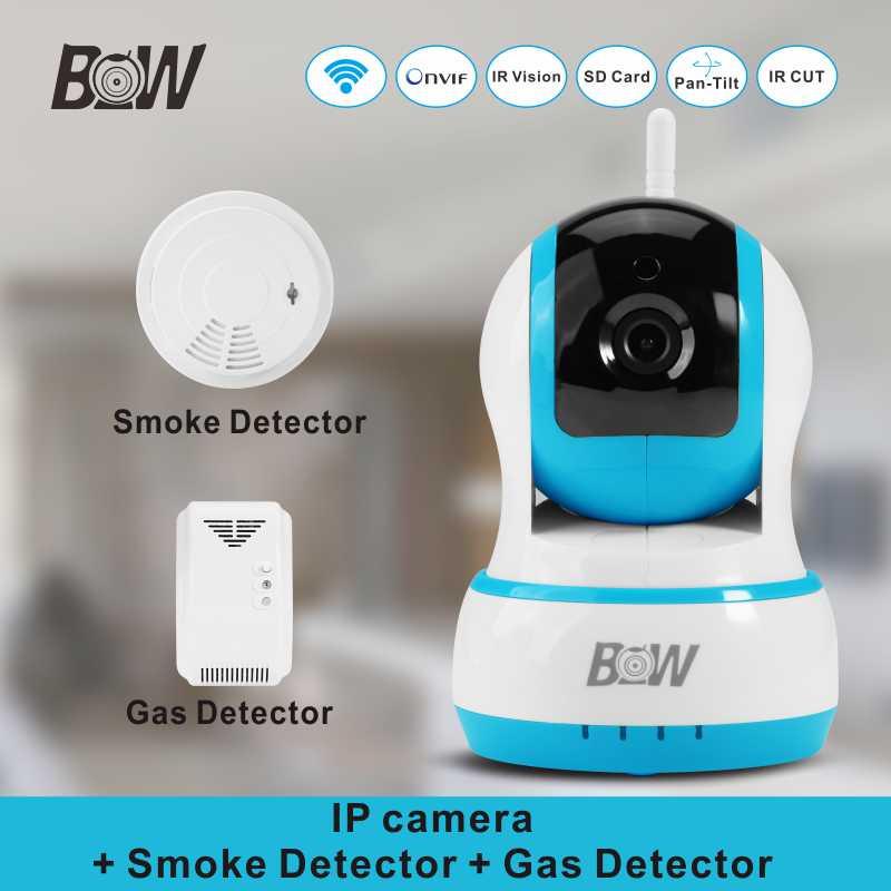 Alarm Security WiFi Camera +Smoke Detector+Gas Detector Night Vision PnP Infrared Surveillance Camera Wireless BW013B