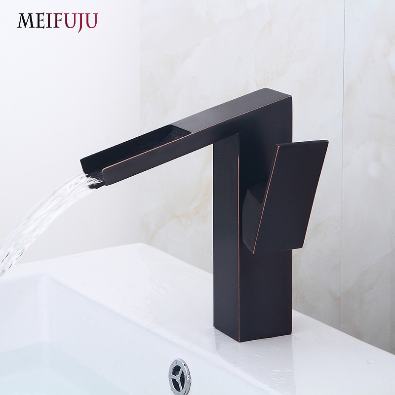 New watefall Basin Faucet Solid Brass Oil Rubbed Bronze Bathroom Sink Basin Faucets Black Mixer Tap