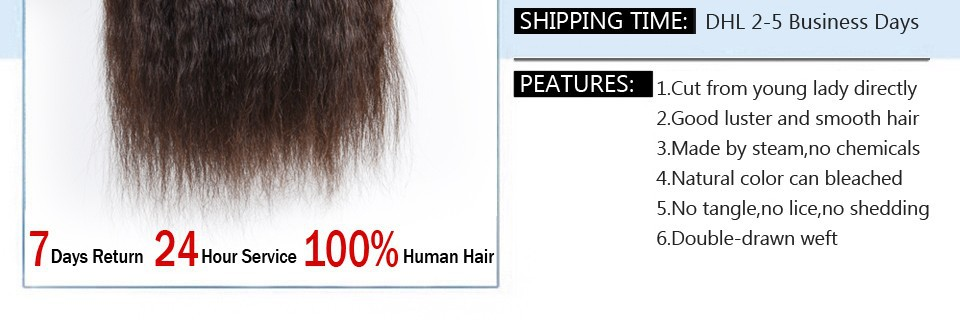 7A Brazilian Virgin Hair Kinky Straight 3Bundles 100% Human Hair Brazillian yaki Straight Hair Brazilian Virgin Hair Coarse Yaki