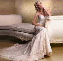 9034  Lace Wedding Gown White Lace Cheap Mermaid Wedding Dress Bride Dresses formal size 2 4 6 8 10 12 14 16 18 20 22 24 26