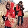 2017 Corea Moda Para Hombre Abrigos Y Chaquetas de Invierno Parejas Delgado ajuste Para Hombre Parka Con Capucha de Piel Gruesa Caliente Chaqueta Militar de Invierno hombres/mujeres