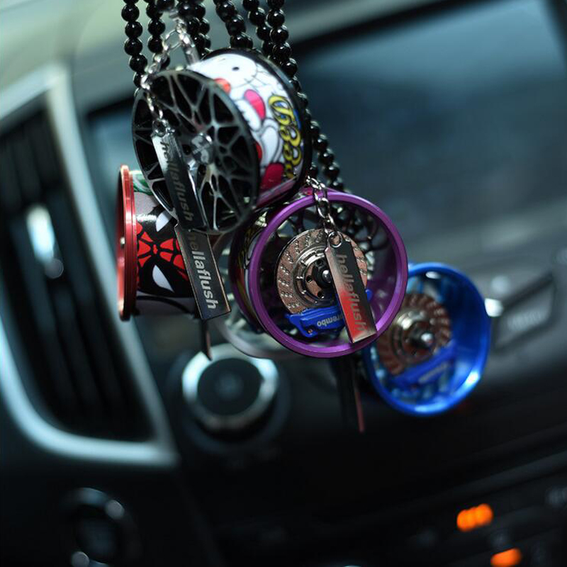 Car Ornaments Rearview Mirror Pendant Tyre Key Rings Al Alloy Hanging Key Chain Wheels Tires Keychains Automotive products