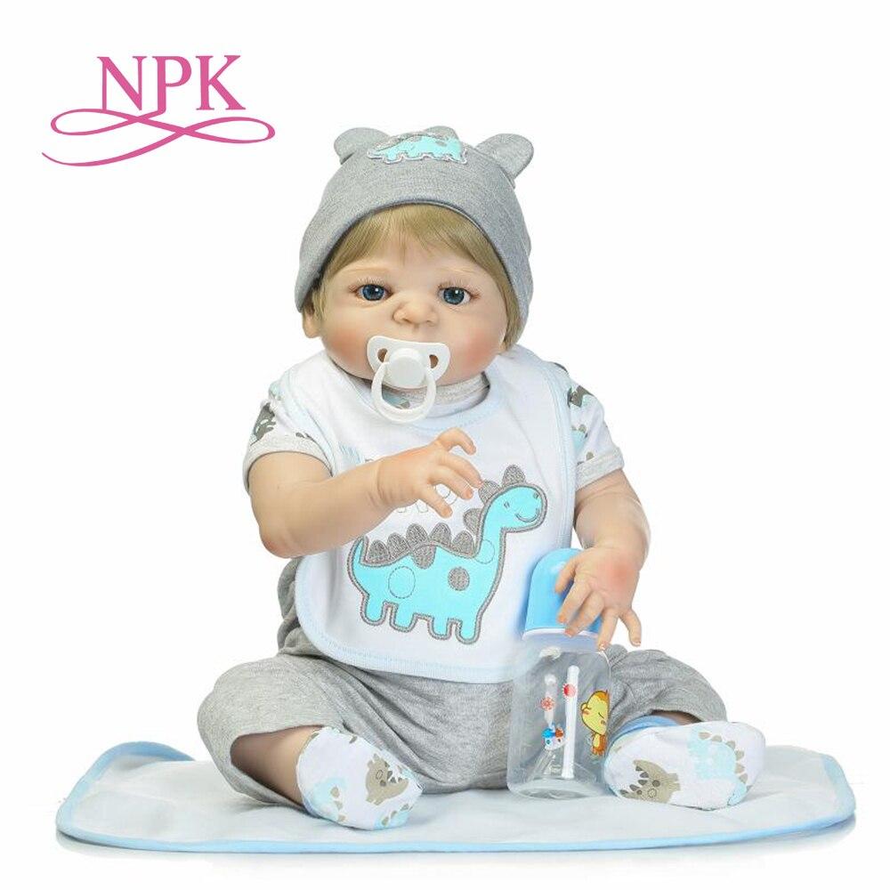 NPK 57 cm de moda de silicona completa de cuerpo de simulación bebé niño leopardo tocado de silicona reborn muñecas de baño muñeca de juguete-in Muñecas from Juguetes y pasatiempos    1