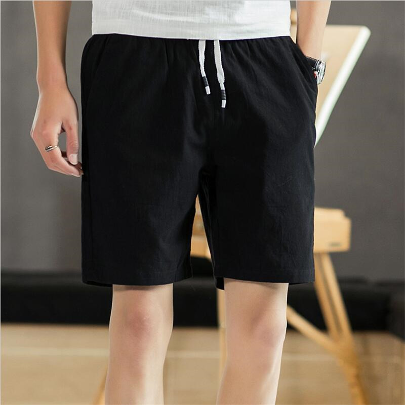 Plus Size M-6XL 7XL 2019 Summer Cotton Linen Elastic Waist Knee Length Breathable Shorts Men Street Slim Fit Straight Shorts RED
