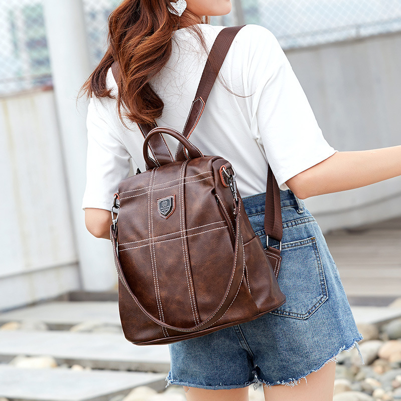 2019 Women Laptop Leather Feminine Travel Backpack Mochila School Bags Backpacks For Teenage Girls Bagpack Fashion Lady Bags in Backpacks from Luggage Bags