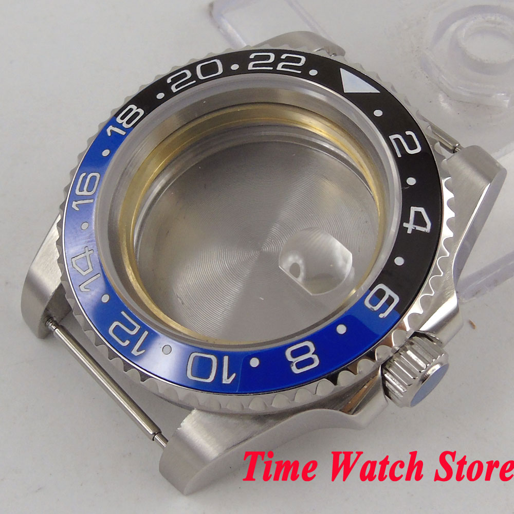 40mm GMT version Sapphire glass black blue ceramic bezel 316L stainless steel Watch Case fit Miyota 8215 ETA 2836 movement C28 цена и фото
