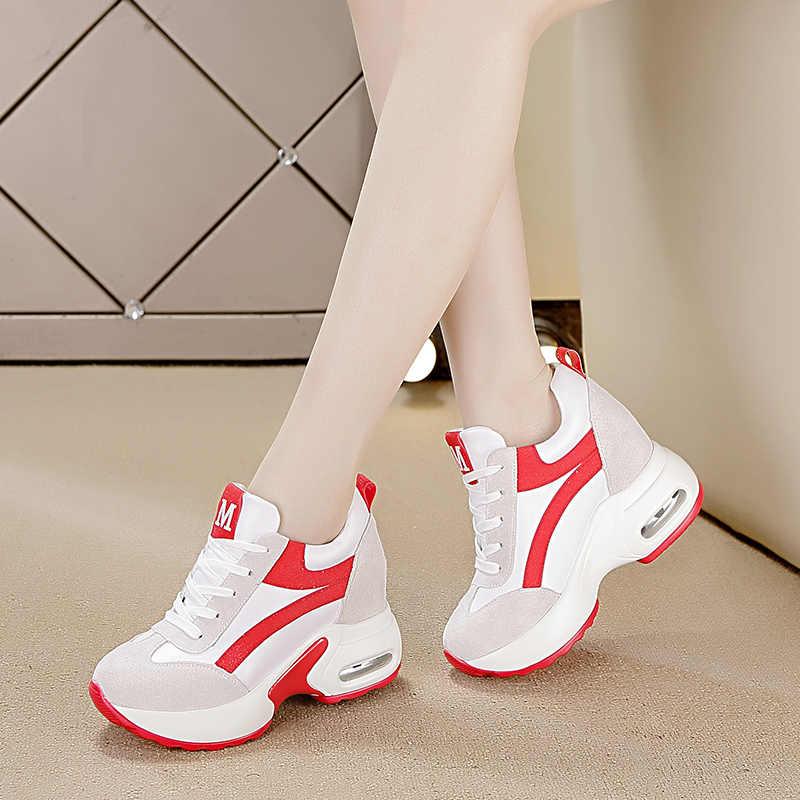 750c1a9e ... 2019 Женская Осенняя повседневная обувь на платформе модные высокие  каблуки женские клиновидные кроссовки обувь 8 см ...