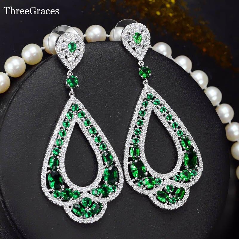 Threegraces известный Дизайн Королевский Стиль белого золота Цвет зеленым фианитом Большой падение Свадебные Серьги украшения для невест er025