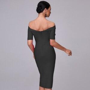 Image 5 - 2020 נשים של קיץ סלאש אמצע מותניים עגל אופנה סגול Off כתף קצר שרוול סלבריטאים תחבושת מסיבת חג המולד שמלה