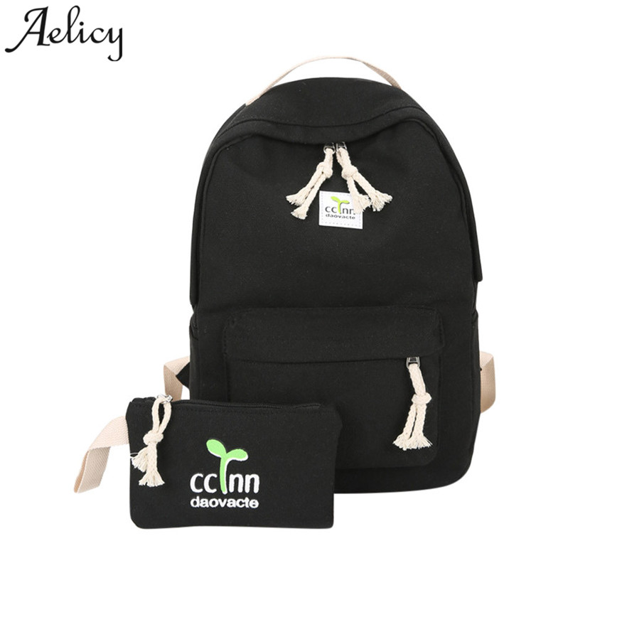 Aelicy Preppy Style Canvas Backpack Women Sweet Colloge Student Backpack String Girls Travels Bag Shoulder Bags 2pcs Bag Set C30