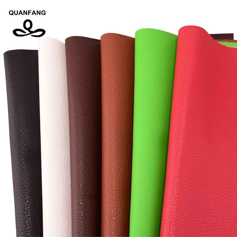 QUANFANG 17*30cm Solid color Pu Imitation leather sofa cloth Faux embossed leather, Faux Leather Fabric for Sewing 6pcs/lot