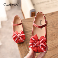 Girls Leather Shoes for Children 2019 Spring Autumn Fashion Party Princess Shoes Kids Soft Bottom Bow Dance Girls Shoes 26-36 girls leather shoes 2019 spring autumn children flat with princess shoes pu baby girls hook loop antiskid soft bottom shoes 242