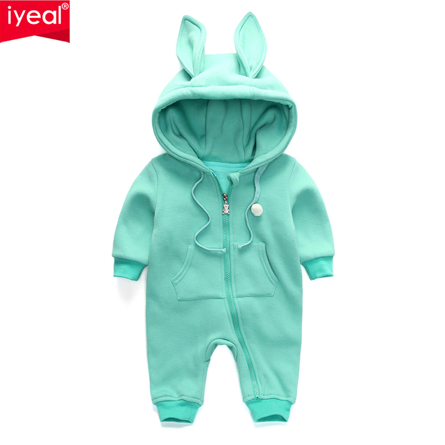 IYEAL New Arrival 2018 Spring Autumn Baby Rompers Cute Cartoon Rabbit Infant Girl Boy Jumpsuits Kids Baby Outfits Clothes 0-18M iyeal new spring autumn baby rompers cartoon christmas deer cotton sweater infant girl boy jumpers kids baby outfits clothes