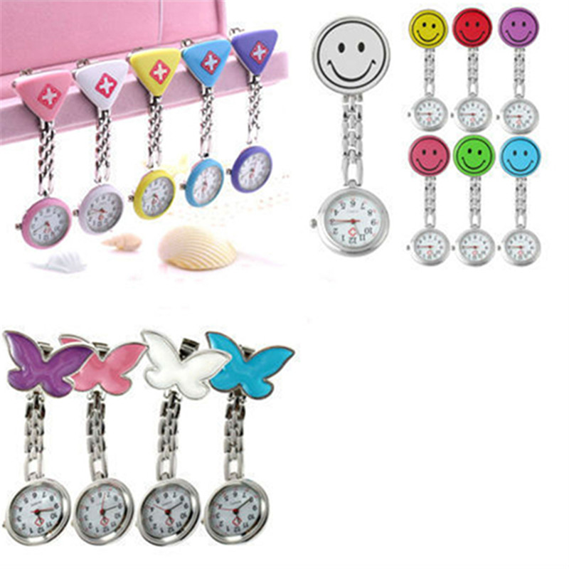 HOT Women's Butterfly Smile Face Quartz Clip-On Brooch Nurse Hanging Pocket Watch Colorful Women Fob Watches Relogio Men Clock цена и фото
