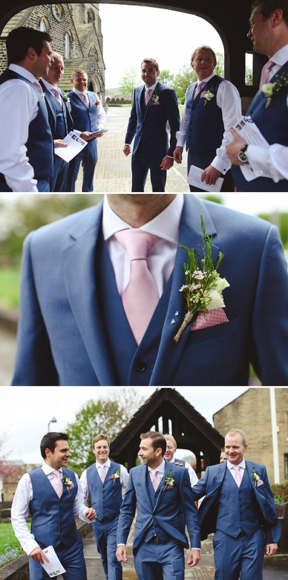British Style Two Buttons Navy Men Slim Fit Suits Notch Lapel Groomsmen Tuxedos Groom Men Wedding Suits Blazer(jacket+pant+vest)