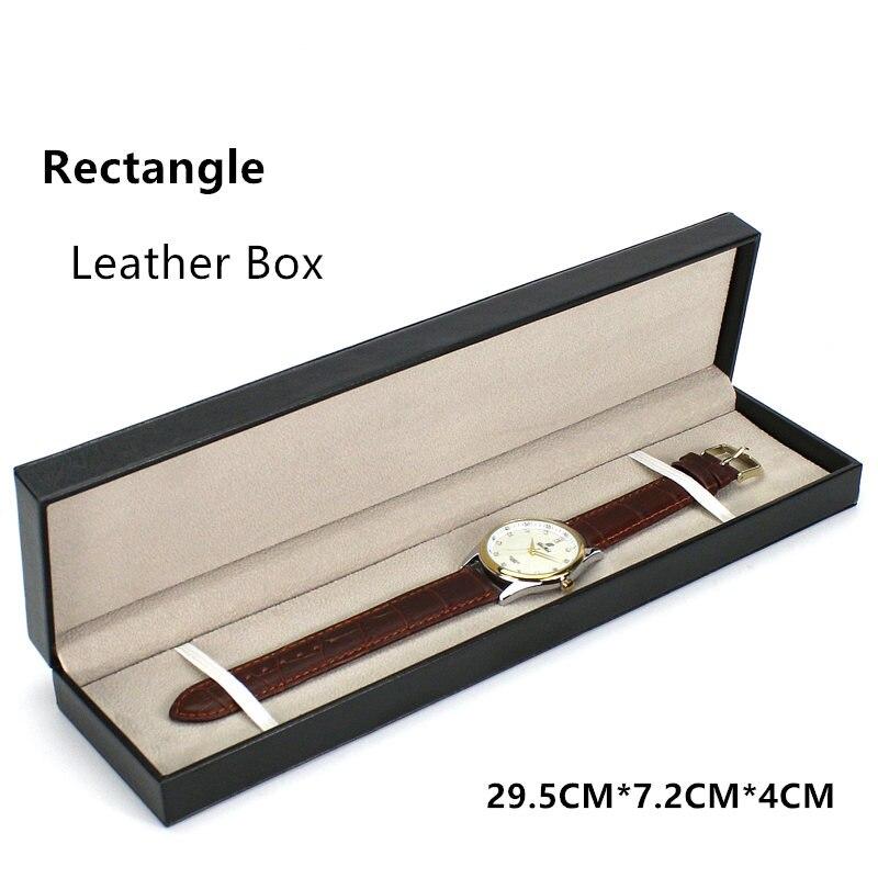 (Правокутник) 2020 Црна кожна кутија за сатове Модни кофер за сатове с јастуком Кућиште поклон кутија може прилагодити ЛОГО А088