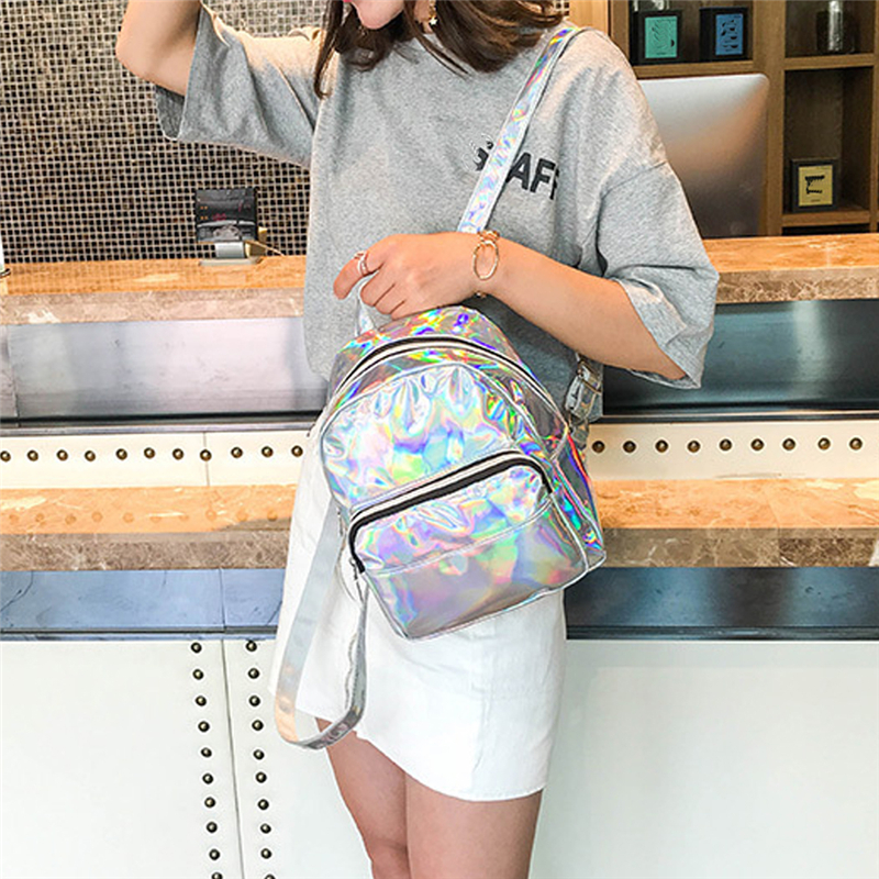 2020 Silver Pink Fashion Laser Backpack Women Girls Bag Holographic Small Size Backpack For Teenage Girls