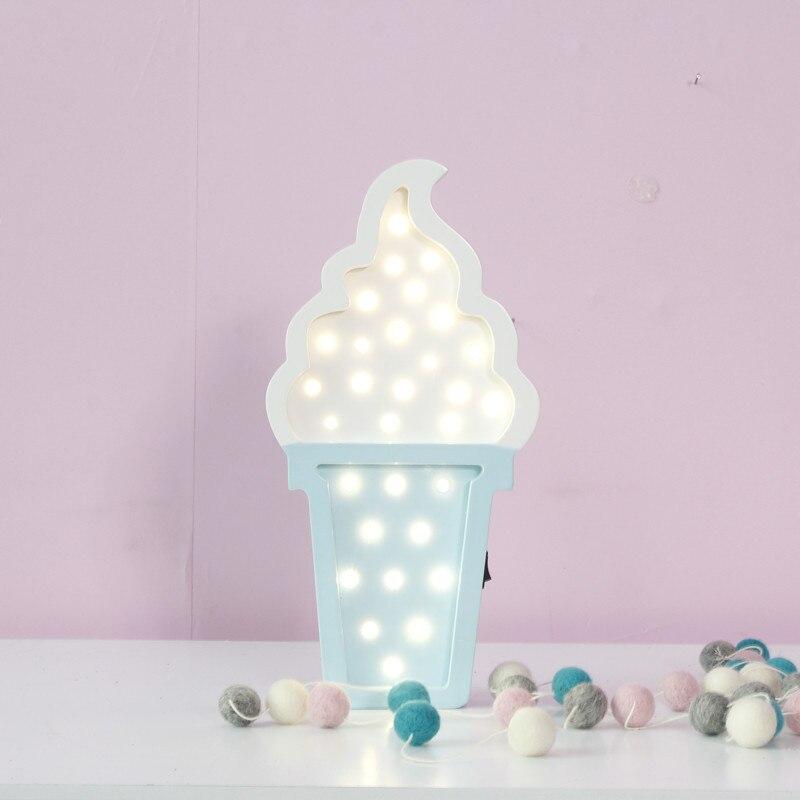 LED Деревянные прекрасный мороженое ночник Батарея Мощность маленьких Спальня настенный светильник партии Аксессуары 3D свет как ребенок иг...