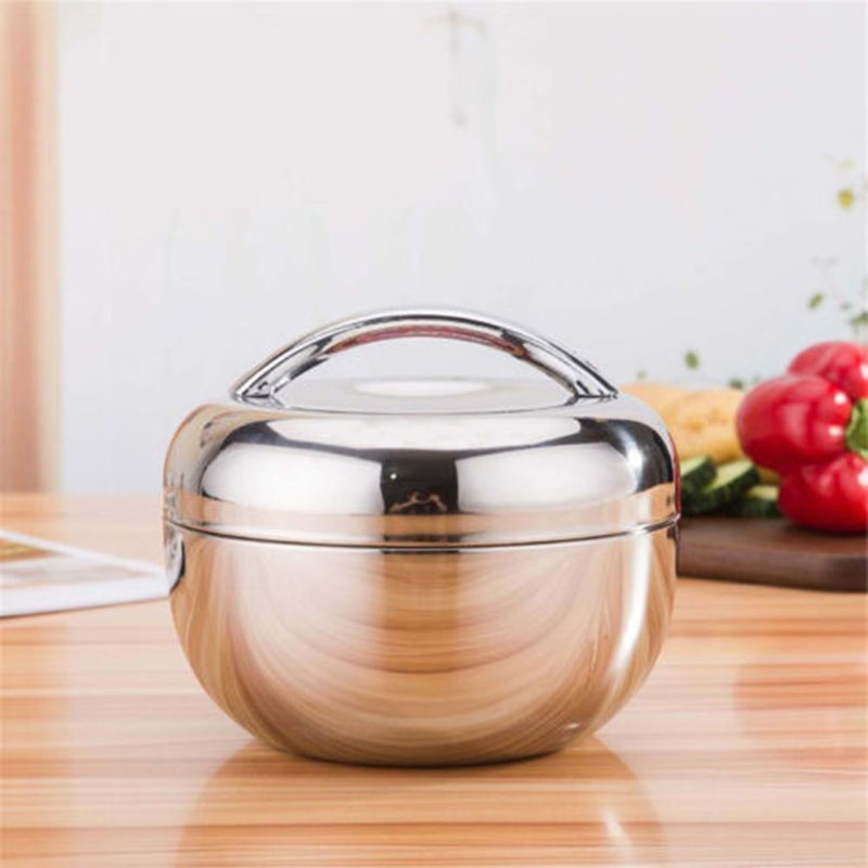 1 Layer Stainless Steel Thermal Insulated Lunch Box Bento Food Container Round|Lunch Boxes| |  -