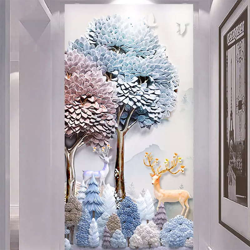 Custom Photo Wallpaper Modern Embossed 3D Abstract Forest Elk Mural Wall Paper Roll Living Room Sofa TV Background Wall Covering