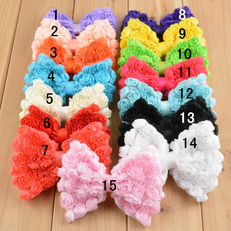 10pcs/Lot 10cm 15Colors Baby Girl Large Rose Flower Chiffon Bowknot DIY Hair Bow Headband Hairband Dress