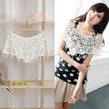 Women's Sweet White Hollow Crochet Lace Tassels Knit Wide Collar Cape Shawl