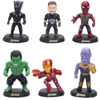 Action Batman Iron Man Spider Man The Avengers Super Hero model figure toys collection toy figures 6pcs/set gift F7317