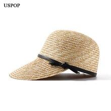 USPOP Neue frauen visier sonne hüte weibliche breite krempe stroh hut sommer casual schatten strand kappe casual leder bogen sonne hüte