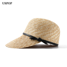 USPOP  New women visor sun hats female wide brim straw hat summer casual shade beach cap casual leather bow sun hats