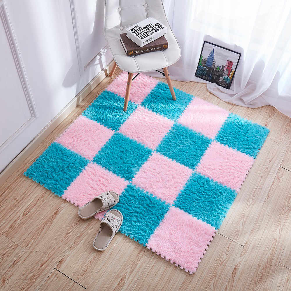 30x30cm Living room/bedroom Carpet Patchwork Rug Kids Carpet Foam Puzzle Mat EVA Long Fluff Baby Eco Floor alfombra tappeto