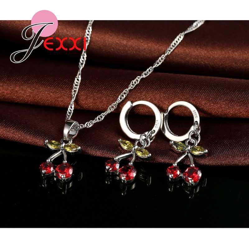 Party Geschenk Färbte Kristall Frauen Schmuck Sets 925 Sterling Silber Halskette Ohrringe Kirsche Design Baumeln Anhänger