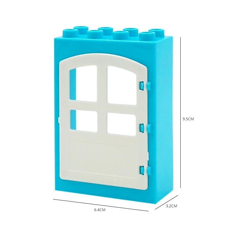 DIY House Big Particles Building Blocks Compatible LegoINGS Duploe Basics Accessory Movable Window Door Set Bricks Kids Toys (3)