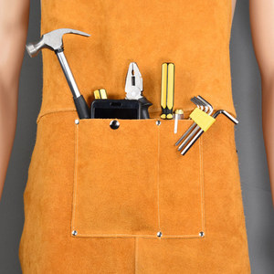Image 5 - Men Women Blacksmith Cowhide Leather Wear resistant Apron Thicken Working Yellow Electric Welding Adjustable Front Pocket