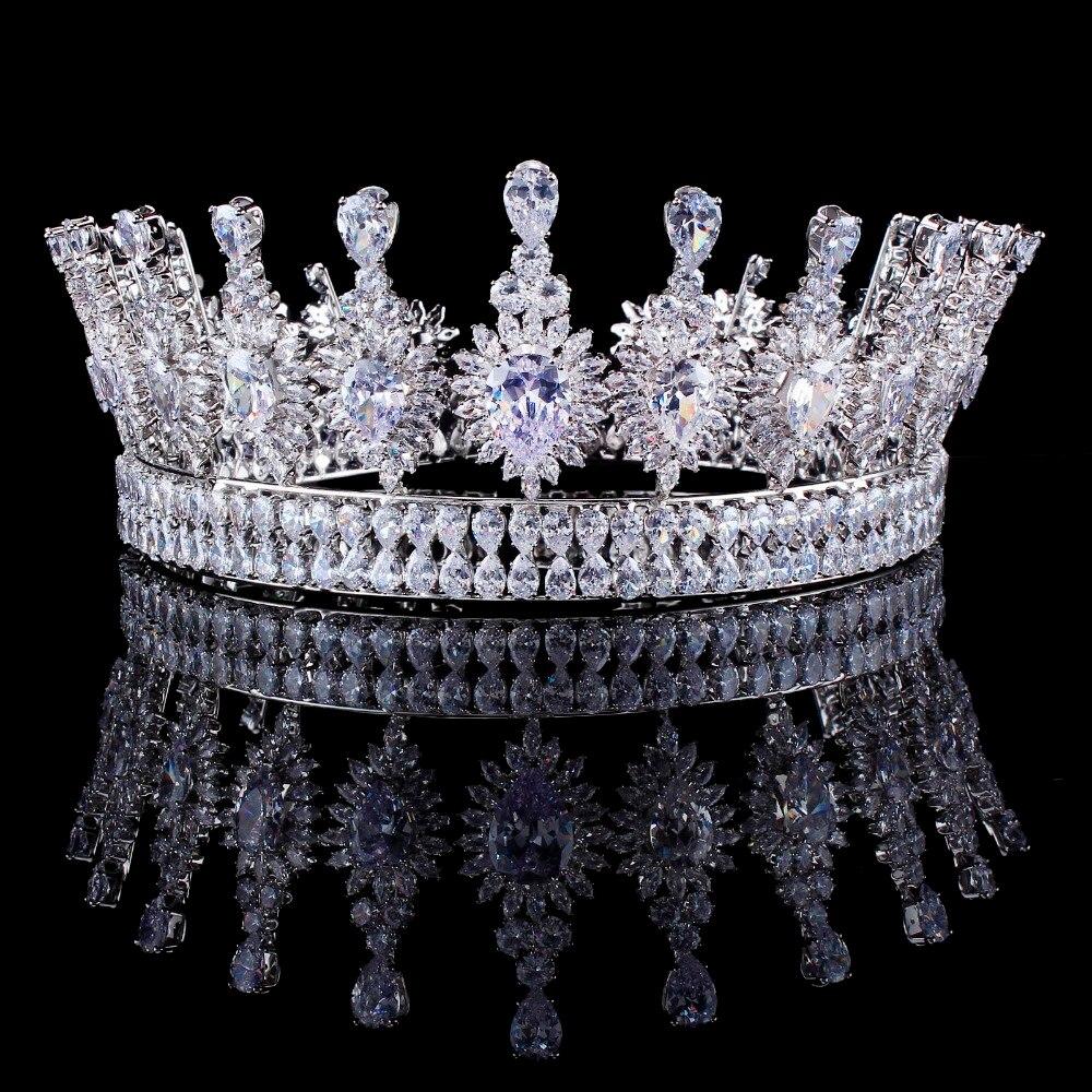 Роскошные цирконами элегантный Маркиза вырезать кубического циркония цветок свадебные queen Корона Тиара волос для невест