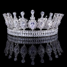 Luxury Zircons Elegant Marquise Cut Cubic Zirconia Flower Bridal Wedding Queen Crown Tiara  Hair Jewelry For Brides