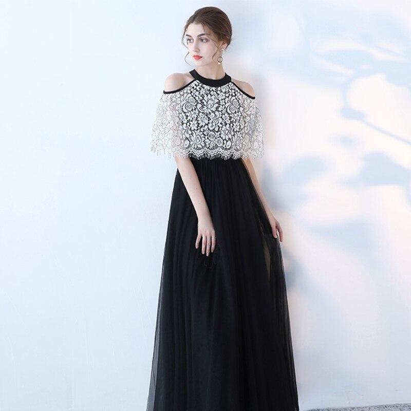 Sexy noir longue robe soirée-parole longueur robe de bal licou femmes robes formelles hors de l'épaule élégante robe de bal G191