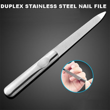 1pc Professional Stainless Steel Nail File Buffer Double Side Grinding Rod Manicure Pedicure Scrub Nail Arts Tool