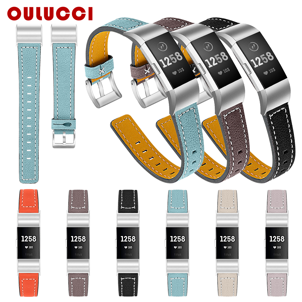 Oulucci Leather Straps Band Replacement Interchangeable Fitbit Charge 2 Bands Smart Fitness Watch Band With For Fit Bit Charge 2